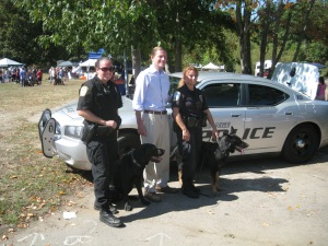 U.S. Senator Richard Blumenthal of CT visits with Newtown Police Officer Felicia Figol and K-9 Officer Saint Michael and Orange Police Officer  Mary Bernegger and K-9 Office Trent.