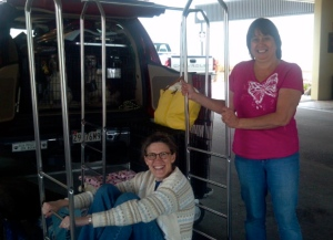 A scenario familiar to show-goers: The author and her friend get ready to unload dogs and gear at the national-specialty host hotel.